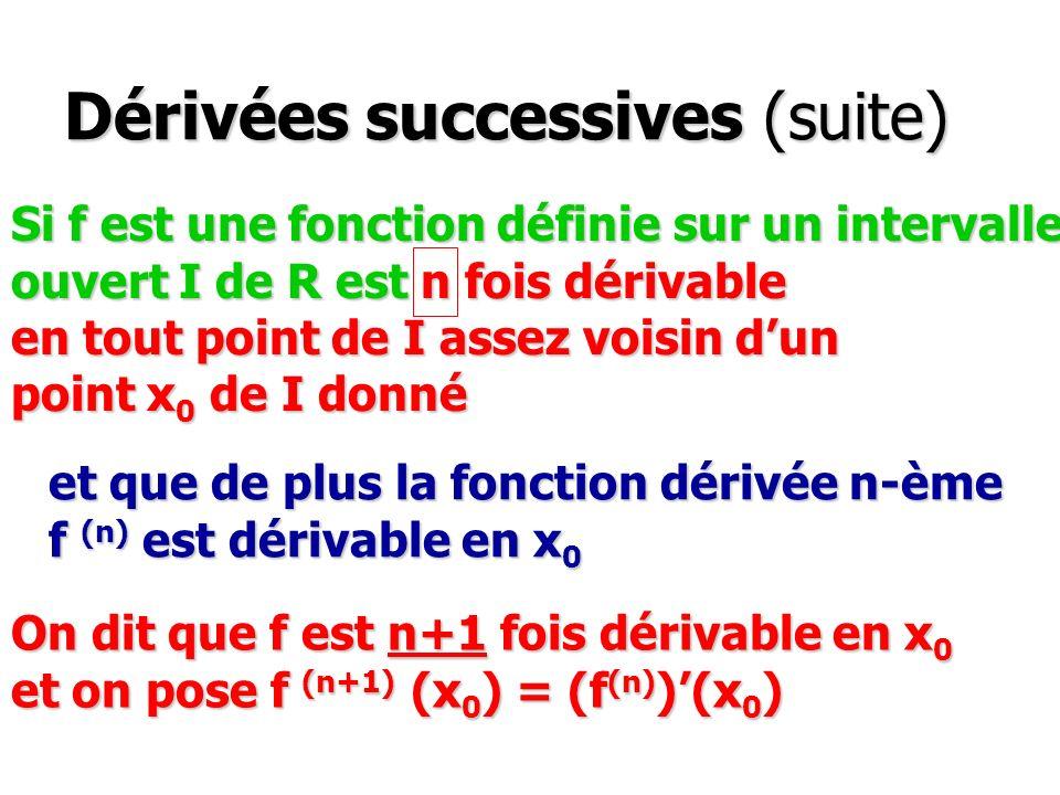 Dérivées successives (suite) Si f est une fonction définie sur un intervalle ouvert I de R est n fois dérivable en tout point de I assez voisin dun po