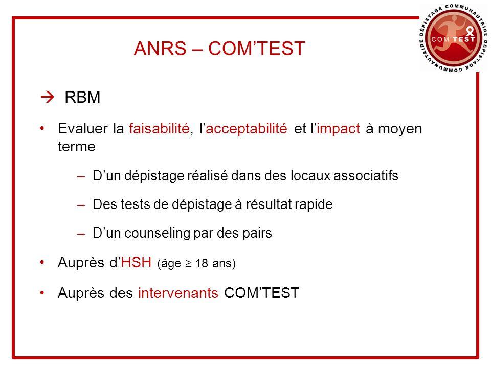 ANRS – COMTEST RBM Evaluer la faisabilité, lacceptabilité et limpact à moyen terme –Dun dépistage réalisé dans des locaux associatifs –Des tests de dé