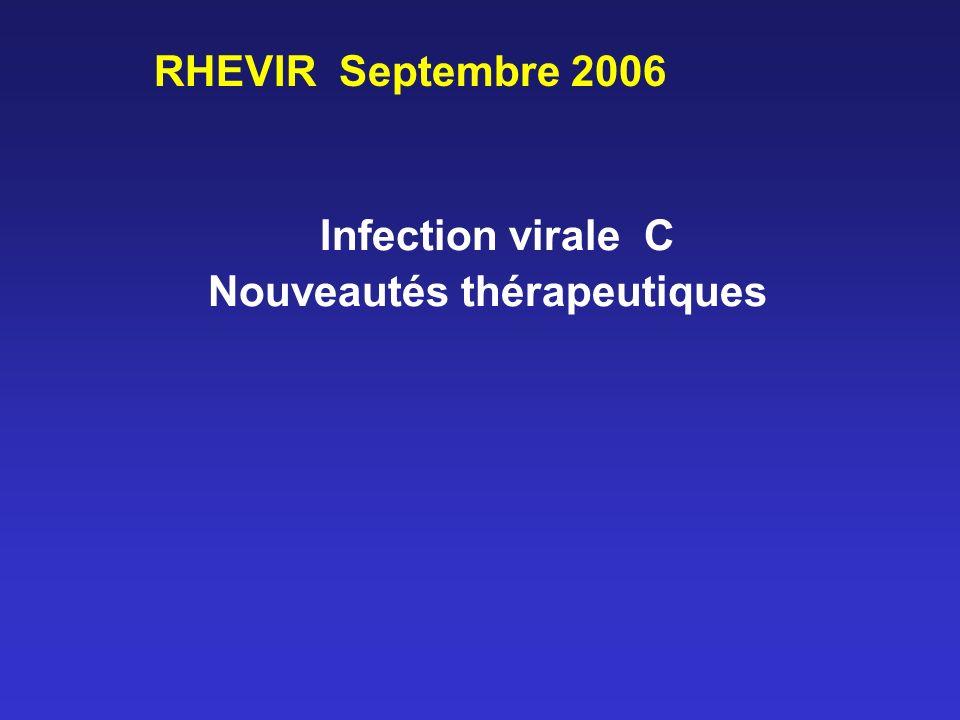 Les traitements antiviraux 2 schémas thérapeutiques pegIFN -2b (1,5 g/kg/sem) + ribavirine (800 - 1200 mg) pegIFN -2a (180 g/sem) +ribavirine (800 - 1200 mg ) Ribavirine selon génotype et poids Durée: 24 - 48 semaines