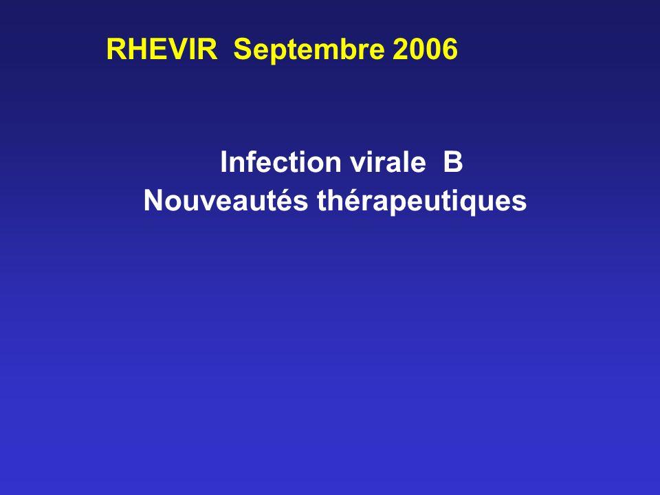 Infection virale B Nouveautés thérapeutiques RHEVIR Septembre 2006
