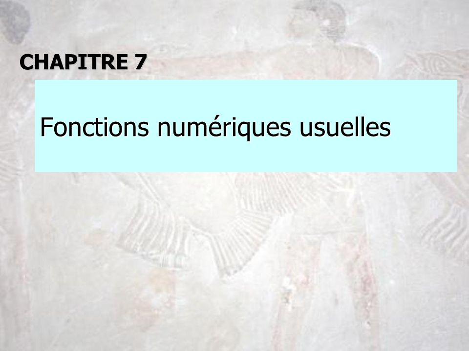 Fonctions numériques usuelles CHAPITRE 7