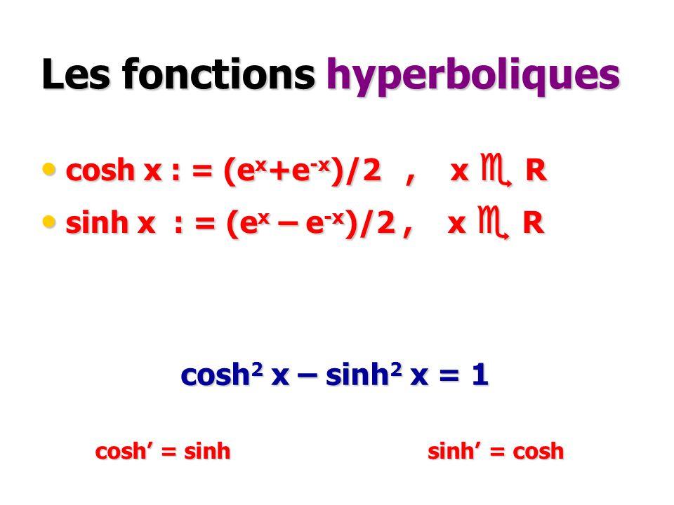 Les fonctions hyperboliques cosh x : = (e x +e -x )/2, x R cosh x : = (e x +e -x )/2, x R sinh x : = (e x – e -x )/2, x R sinh x : = (e x – e -x )/2,
