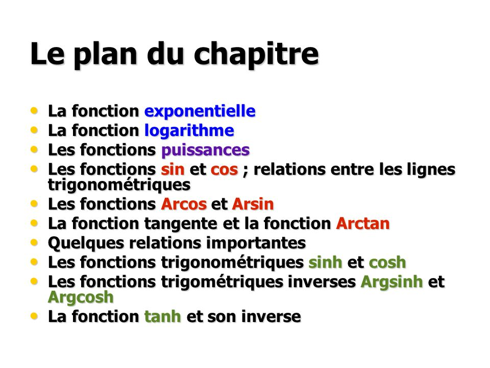 Le plan du chapitre La fonction exponentielle La fonction exponentielle La fonction logarithme La fonction logarithme Les fonctions puissances Les fon