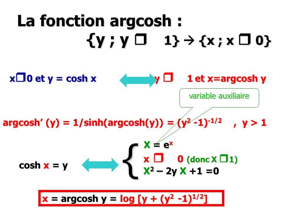 La fonction argcosh : {y ; y 1} {x ; x 0} x 0 et y = cosh x y 1 et x=argcosh y argcosh (y) = 1/sinh(argcosh(y)) = (y 2 -1) -1/2, y > 1 cosh x = y { X