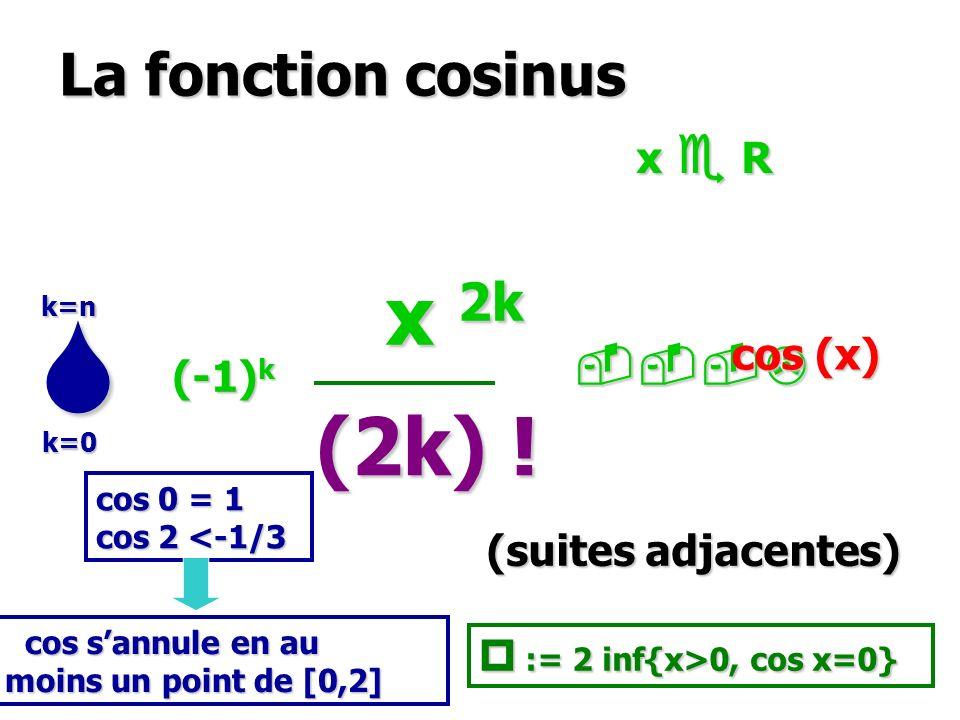 La fonction cosinus x 2k x 2k (2k) ! k=0 k=n cos (x) (-1) k (suites adjacentes) x R cos 0 = 1 cos 2 <-1/3 := 2 inf{x>0, cos x=0} := 2 inf{x>0, cos x=0
