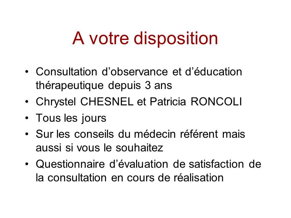A votre disposition Consultation dobservance et déducation thérapeutique depuis 3 ans Chrystel CHESNEL et Patricia RONCOLI Tous les jours Sur les cons