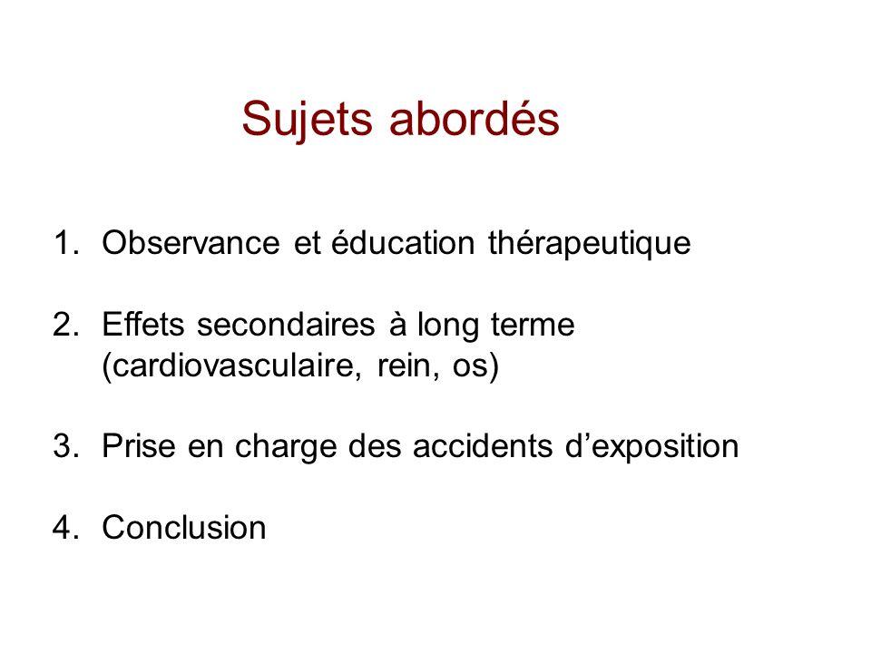 Sujets abordés 1.Observance et éducation thérapeutique 2.Effets secondaires à long terme (cardiovasculaire, rein, os) 3.Prise en charge des accidents