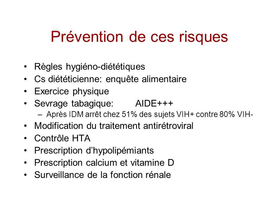 Prévention de ces risques Règles hygiéno-diététiques Cs diététicienne: enquête alimentaire Exercice physique Sevrage tabagique:AIDE+++ –Après IDM arrê