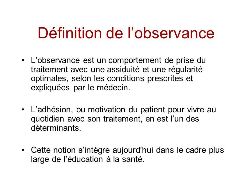 Définition de lobservance Lobservance est un comportement de prise du traitement avec une assiduité et une régularité optimales, selon les conditions