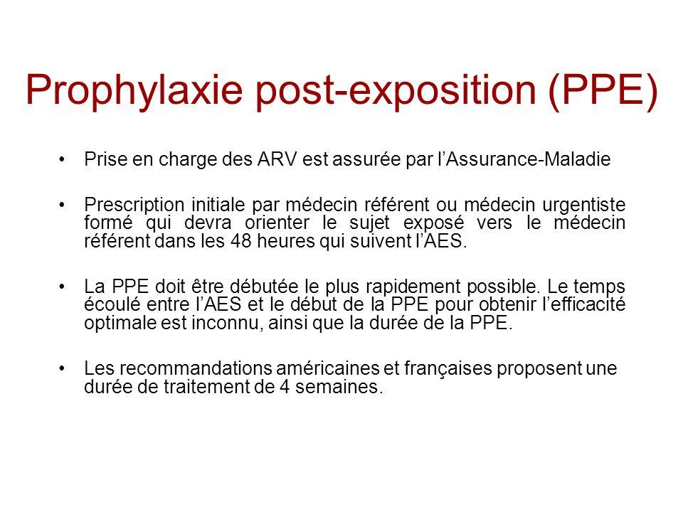 Prophylaxie post-exposition (PPE) Prise en charge des ARV est assurée par lAssurance-Maladie Prescription initiale par médecin référent ou médecin urg