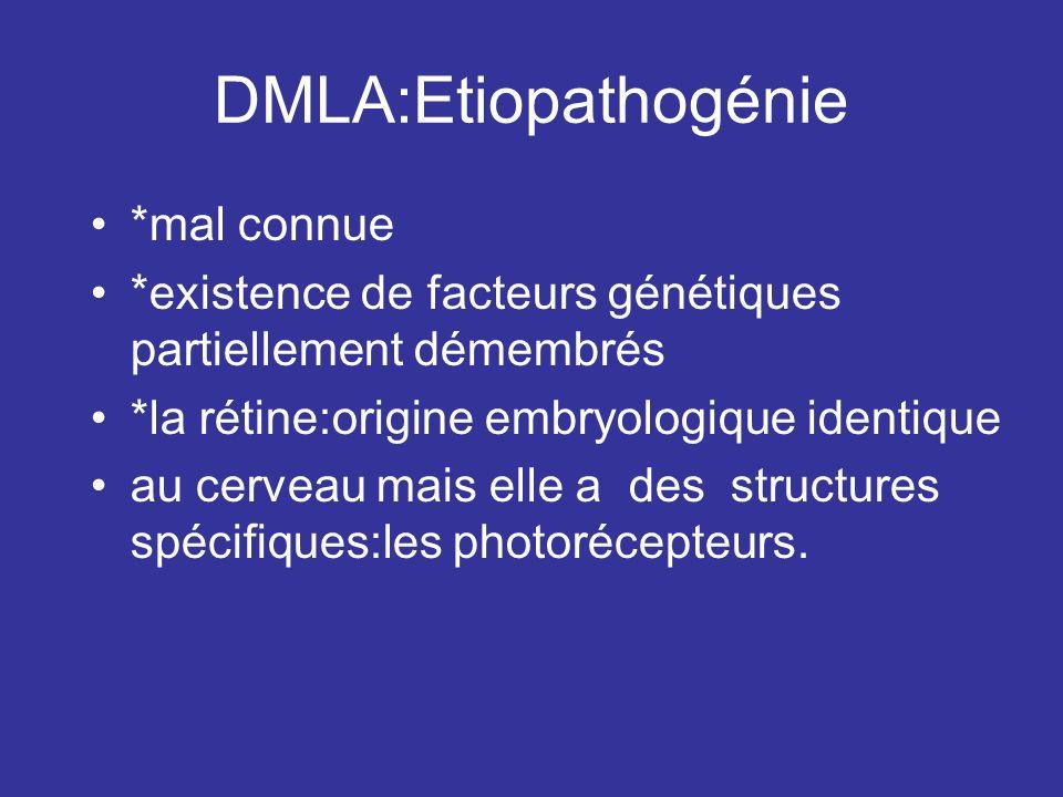 DMLA:Etiopathogénie *mal connue *existence de facteurs génétiques partiellement démembrés *la rétine:origine embryologique identique au cerveau mais e