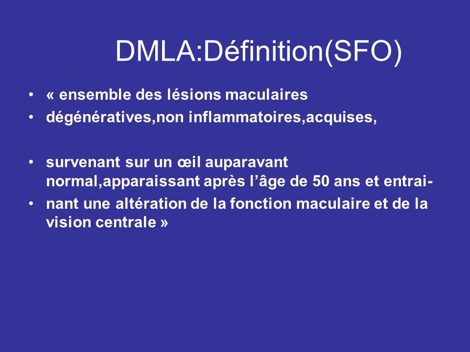 DMLA:Définition(SFO) « ensemble des lésions maculaires dégénératives,non inflammatoires,acquises, survenant sur un œil auparavant normal,apparaissant
