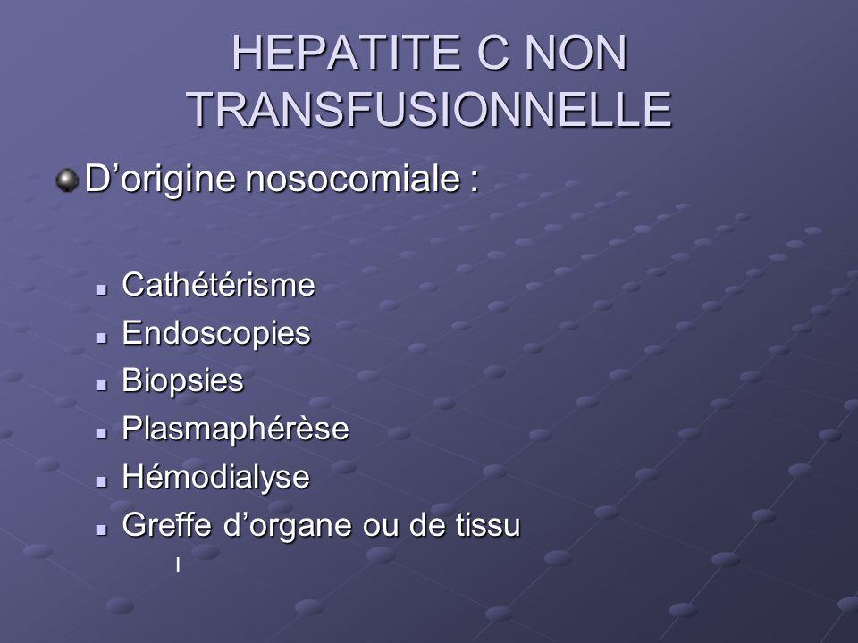HEPATITE C NON TRANSFUSIONNELLE Dorigine nosocomiale : Cathétérisme Cathétérisme Endoscopies Endoscopies Biopsies Biopsies Plasmaphérèse Plasmaphérèse Hémodialyse Hémodialyse Greffe dorgane ou de tissu Greffe dorgane ou de tissu - I- I