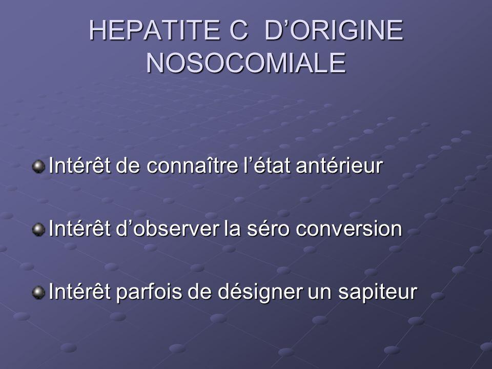 HEPATITE C DORIGINE NOSOCOMIALE Intérêt de connaître létat antérieur Intérêt dobserver la séro conversion Intérêt parfois de désigner un sapiteur