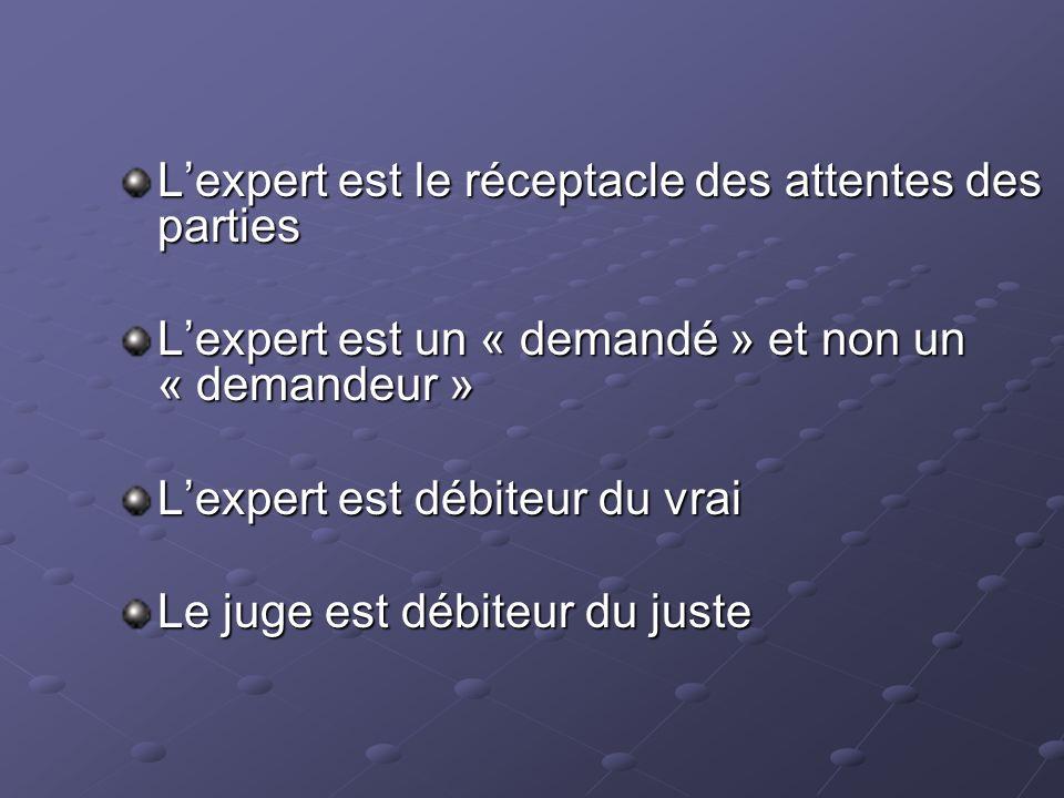 Lexpert est le réceptacle des attentes des parties Lexpert est un « demandé » et non un « demandeur » Lexpert est débiteur du vrai Le juge est débiteur du juste