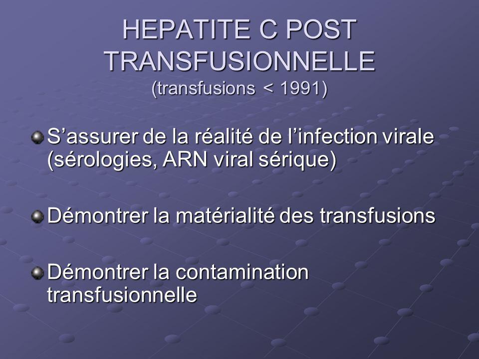 HEPATITE C POST TRANSFUSIONNELLE (transfusions < 1991) Sassurer de la réalité de linfection virale (sérologies, ARN viral sérique) Démontrer la matérialité des transfusions Démontrer la contamination transfusionnelle