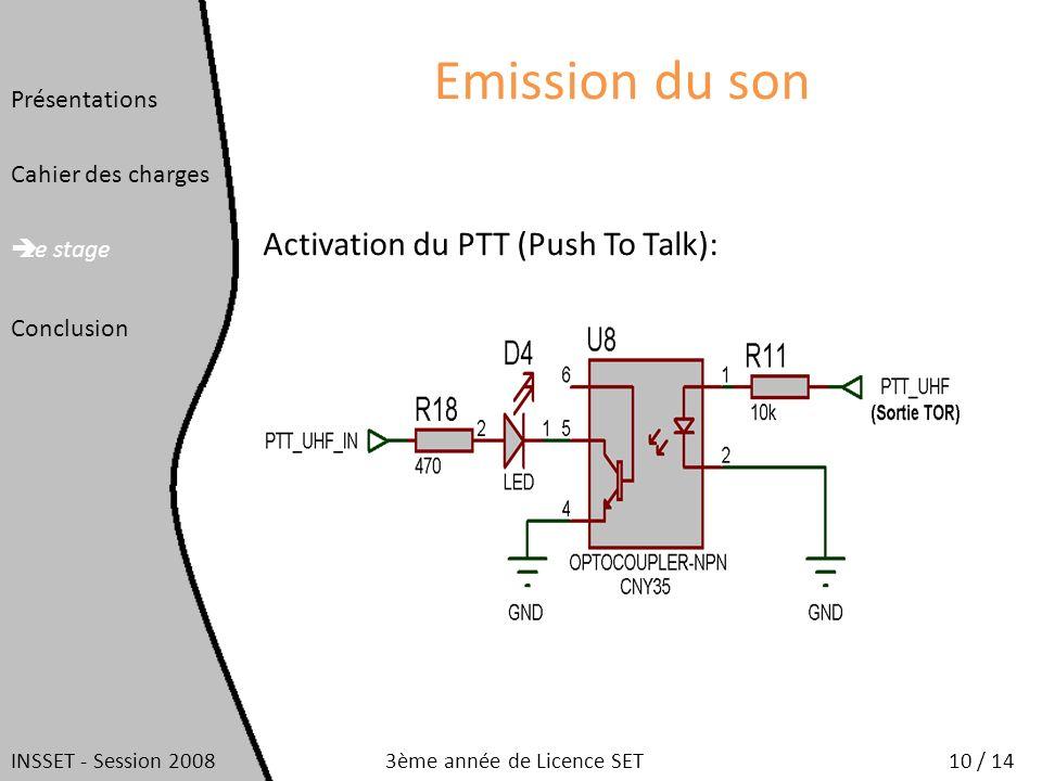 Emission du son Activation du PTT (Push To Talk): Présentations Cahier des charges Le stage Conclusion INSSET - Session 200810 / 143ème année de Licen