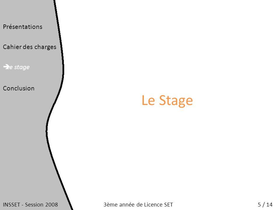Le Stage Présentations Cahier des charges Le stage Conclusion INSSET - Session 20085 / 143ème année de Licence SET