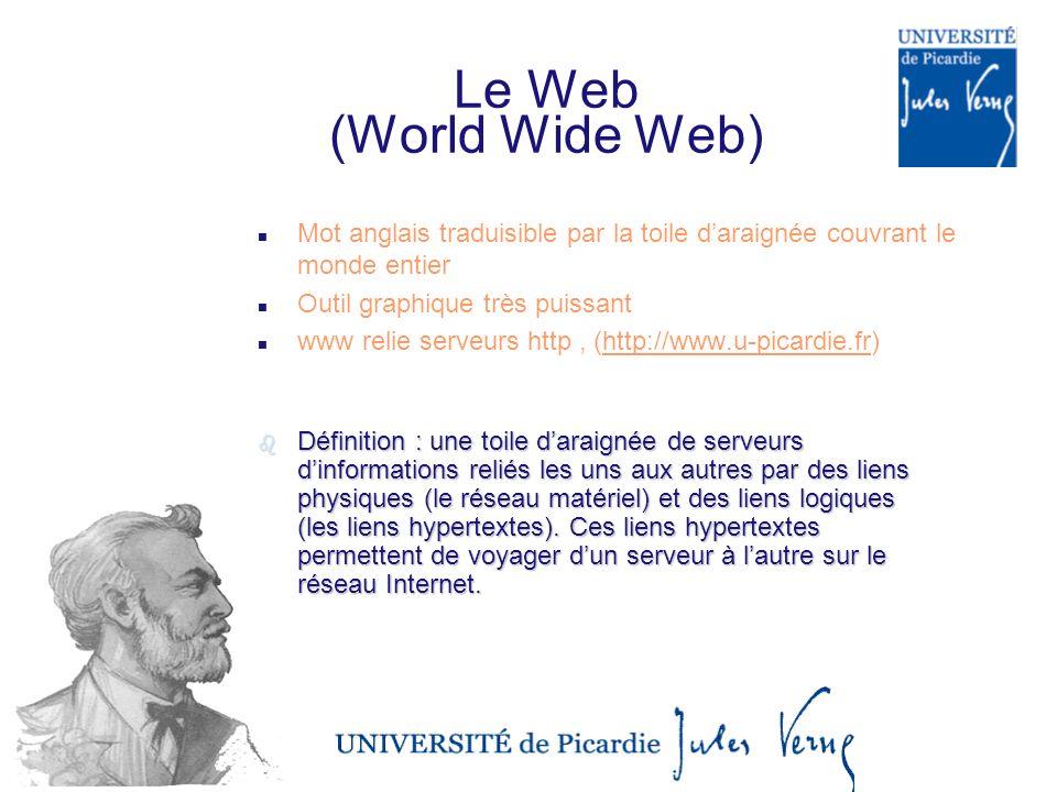 Le Web (World Wide Web) n Mot anglais traduisible par la toile daraignée couvrant le monde entier n Outil graphique très puissant n www relie serveurs http, (http://www.u-picardie.fr)http://www.u-picardie.fr bDbDbDbDéfinition : une toile daraignée de serveurs dinformations reliés les uns aux autres par des liens physiques (le réseau matériel) et des liens logiques (les liens hypertextes).
