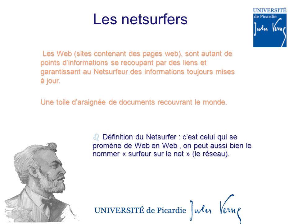 Les netsurfers Les Web (sites contenant des pages web), sont autant de points dinformations se recoupant par des liens et garantissant au Netsurfeur des informations toujours mises à jour.