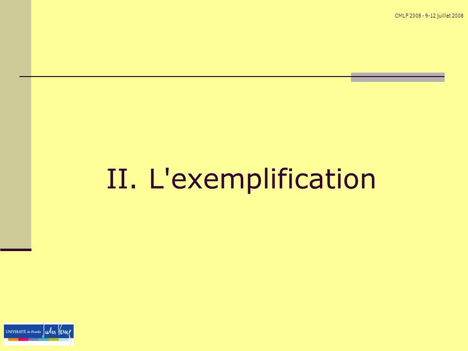 CMLF 2008 - 9-12 juillet 2008 II. L'exemplification