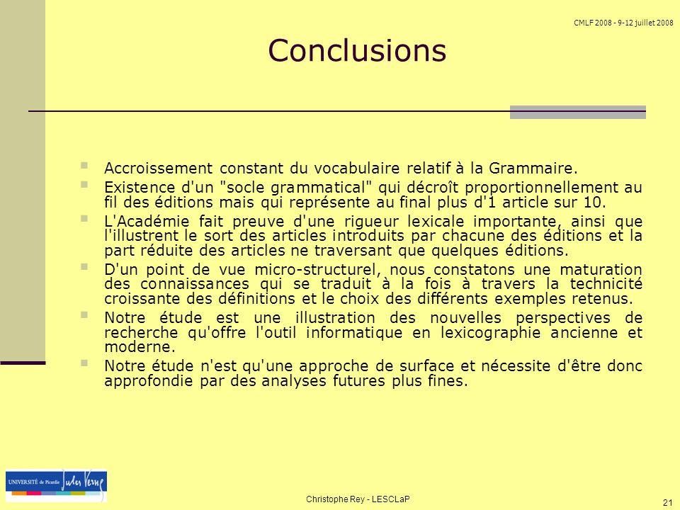 CMLF 2008 - 9-12 juillet 2008 Christophe Rey - LESCLaP 21 Conclusions Accroissement constant du vocabulaire relatif à la Grammaire. Existence d'un