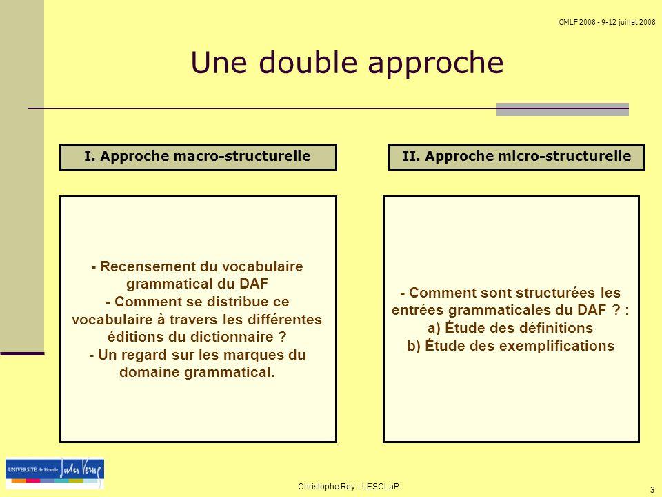 CMLF 2008 - 9-12 juillet 2008 Christophe Rey - LESCLaP 3 Une double approche - Comment sont structurées les entrées grammaticales du DAF ? : a) Étude