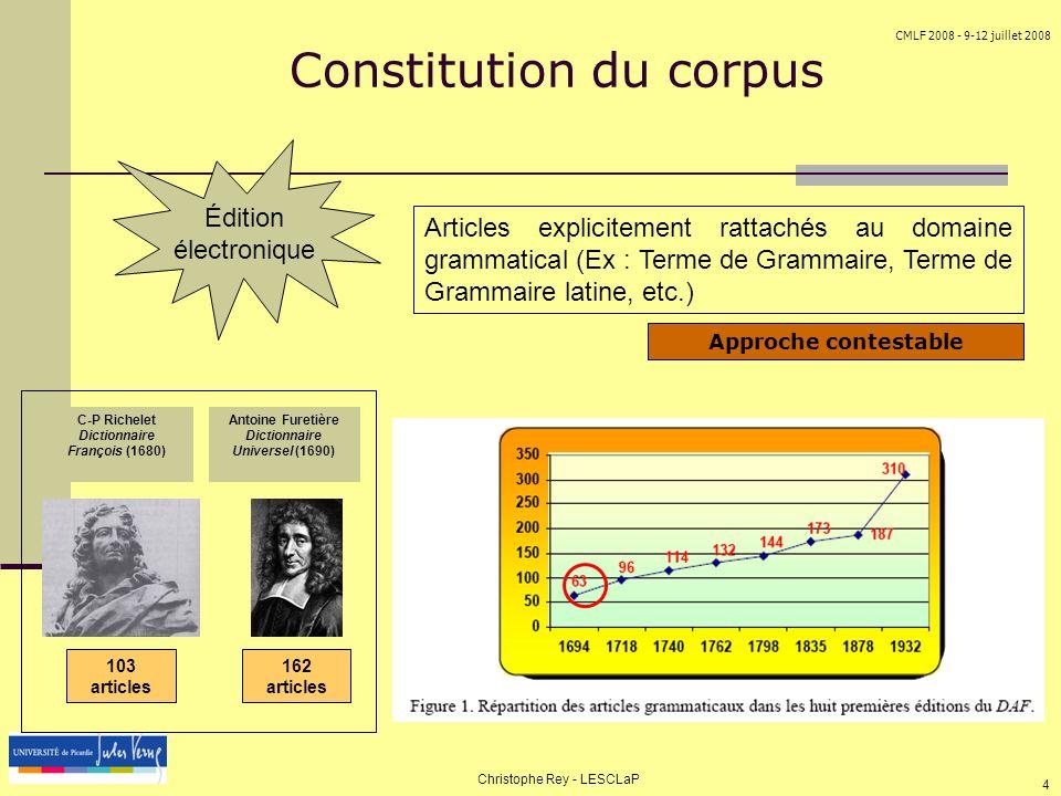 CMLF 2008 - 9-12 juillet 2008 Christophe Rey - LESCLaP 4 Constitution du corpus Articles explicitement rattachés au domaine grammatical (Ex : Terme de