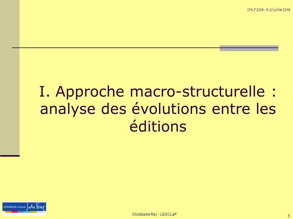 CMLF 2008 - 9-12 juillet 2008 Christophe Rey - LESCLaP 5 I. Approche macro-structurelle : analyse des évolutions entre les éditions