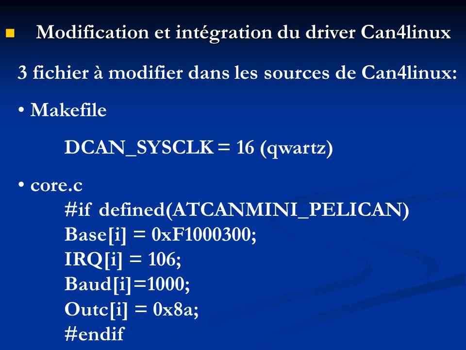 Modification et intégration du driver Can4linux Modification et intégration du driver Can4linux 3 fichier à modifier dans les sources de Can4linux: Ma