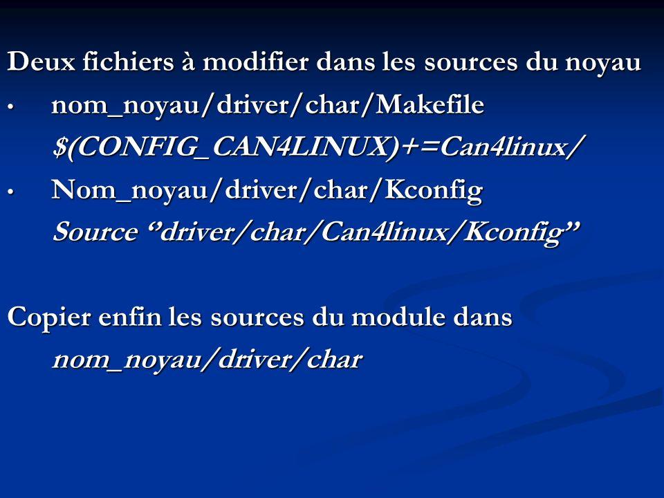 Deux fichiers à modifier dans les sources du noyau nom_noyau/driver/char/Makefile nom_noyau/driver/char/Makefile$(CONFIG_CAN4LINUX)+=Can4linux/ Nom_no