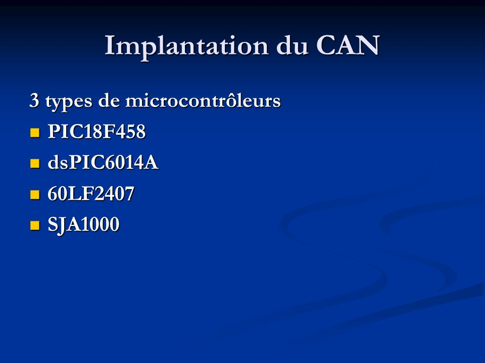 Implantation du CAN 3 types de microcontrôleurs PIC18F458 PIC18F458 dsPIC6014A dsPIC6014A 60LF2407 60LF2407 SJA1000 SJA1000
