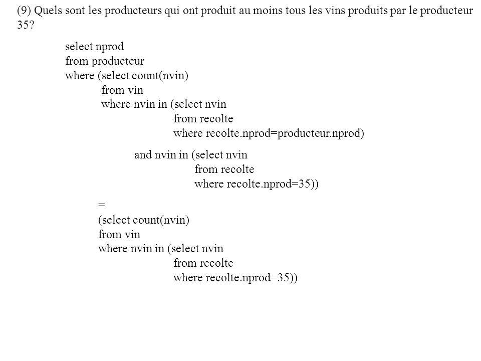 (9) Quels sont les producteurs qui ont produit au moins tous les vins produits par le producteur 35.