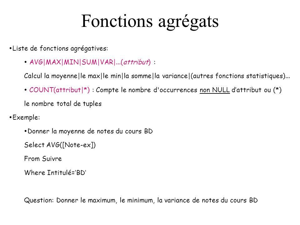 Fonctions agrégats Liste de fonctions agrégatives: AVG|MAX|MIN|SUM|VAR|...(attribut) : Calcul la moyenne|le max|le min|la somme|la variance|(autres fonctions statistiques)...