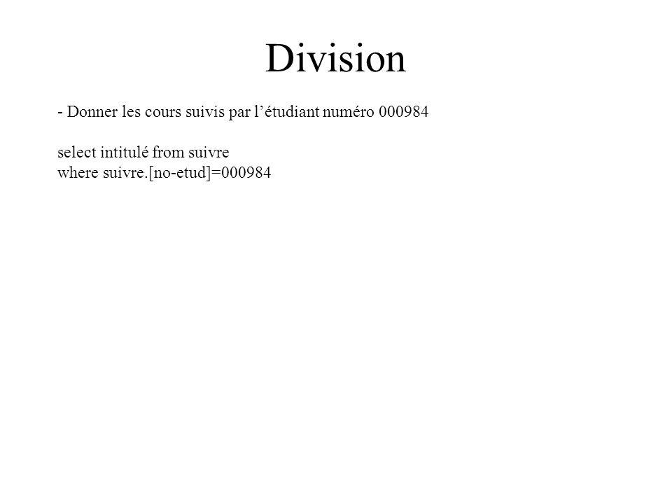 Division - Donner les cours suivis par létudiant numéro 000984 select intitulé from suivre where suivre.[no-etud]=000984