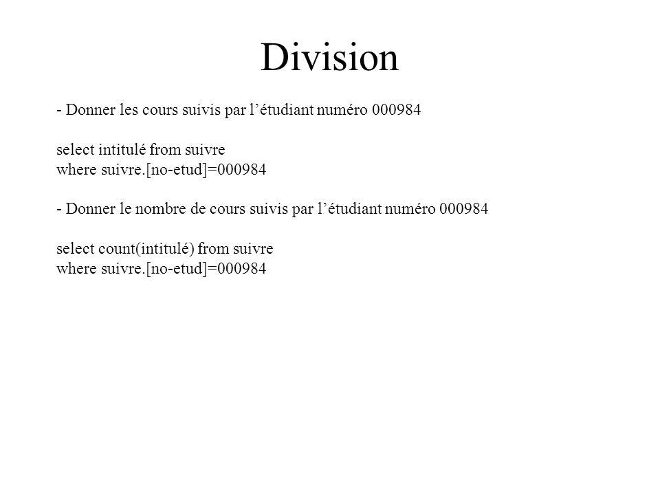 Division - Donner les cours suivis par létudiant numéro 000984 select intitulé from suivre where suivre.[no-etud]=000984 - Donner le nombre de cours suivis par létudiant numéro 000984 select count(intitulé) from suivre where suivre.[no-etud]=000984