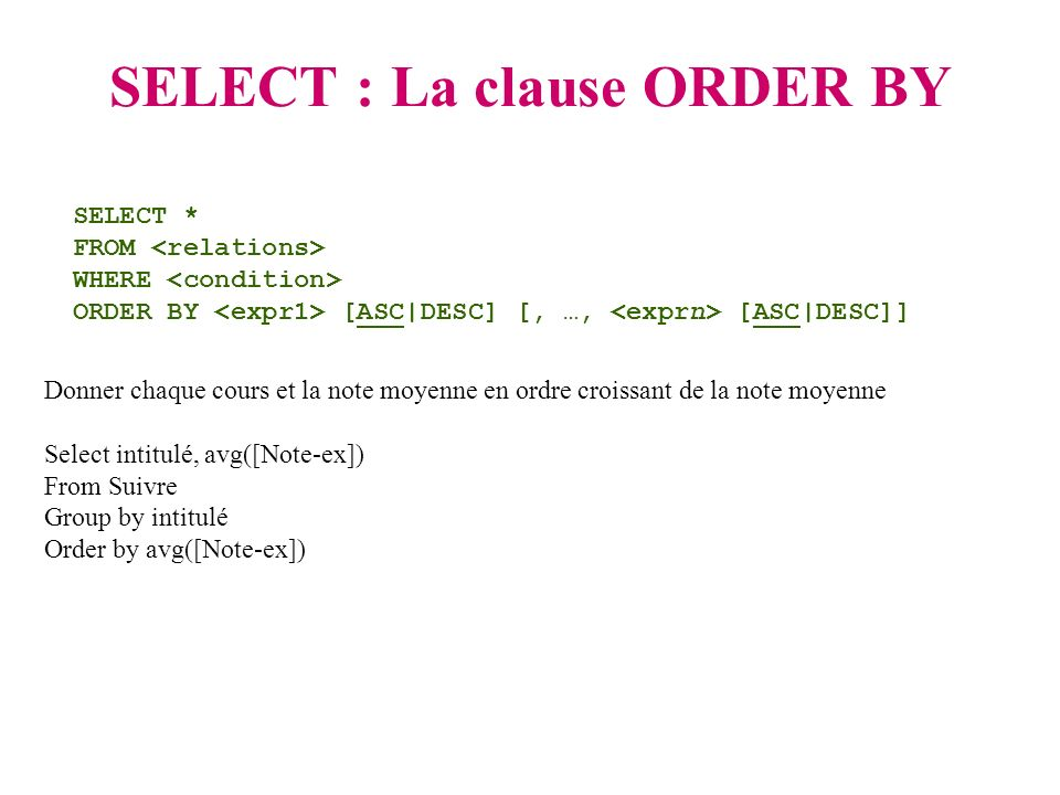 SELECT : La clause ORDER BY SELECT * FROM WHERE ORDER BY [ASC|DESC] [, …, [ASC|DESC]] Donner chaque cours et la note moyenne en ordre croissant de la note moyenne Select intitulé, avg([Note-ex]) From Suivre Group by intitulé Order by avg([Note-ex])