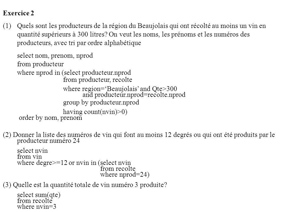 Exercice 2 (1)Quels sont les producteurs de la région du Beaujolais qui ont récolté au moins un vin en quantité supérieurs à 300 litres.