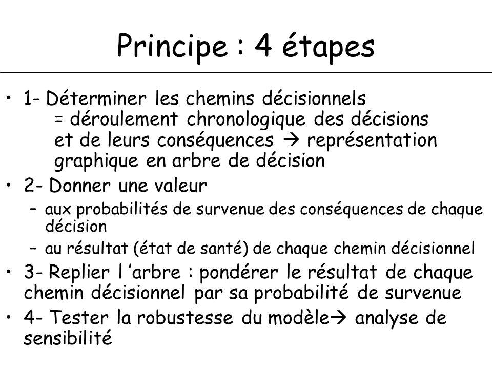 Principe : 4 étapes 1- Déterminer les chemins décisionnels = déroulement chronologique des décisions et de leurs conséquences représentation graphique en arbre de décision 2- Donner une valeur –aux probabilités de survenue des conséquences de chaque décision –au résultat (état de santé) de chaque chemin décisionnel 3- Replier l arbre : pondérer le résultat de chaque chemin décisionnel par sa probabilité de survenue 4- Tester la robustesse du modèle analyse de sensibilité