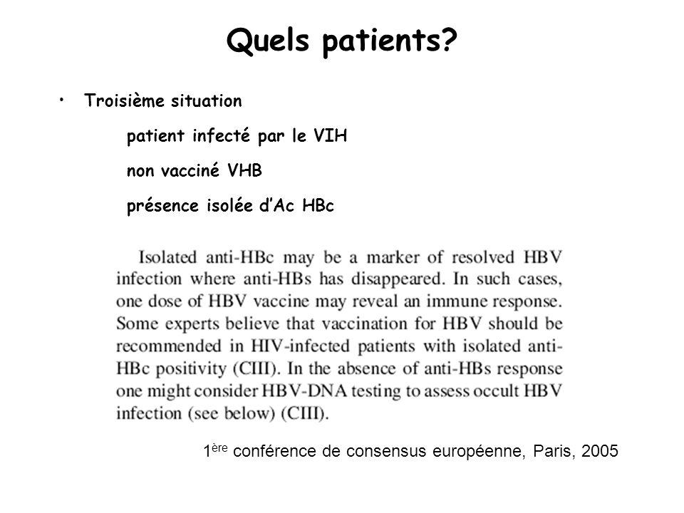 Troisième situation patient infecté par le VIH non vacciné VHB présence isolée dAc HBc Quels patients.
