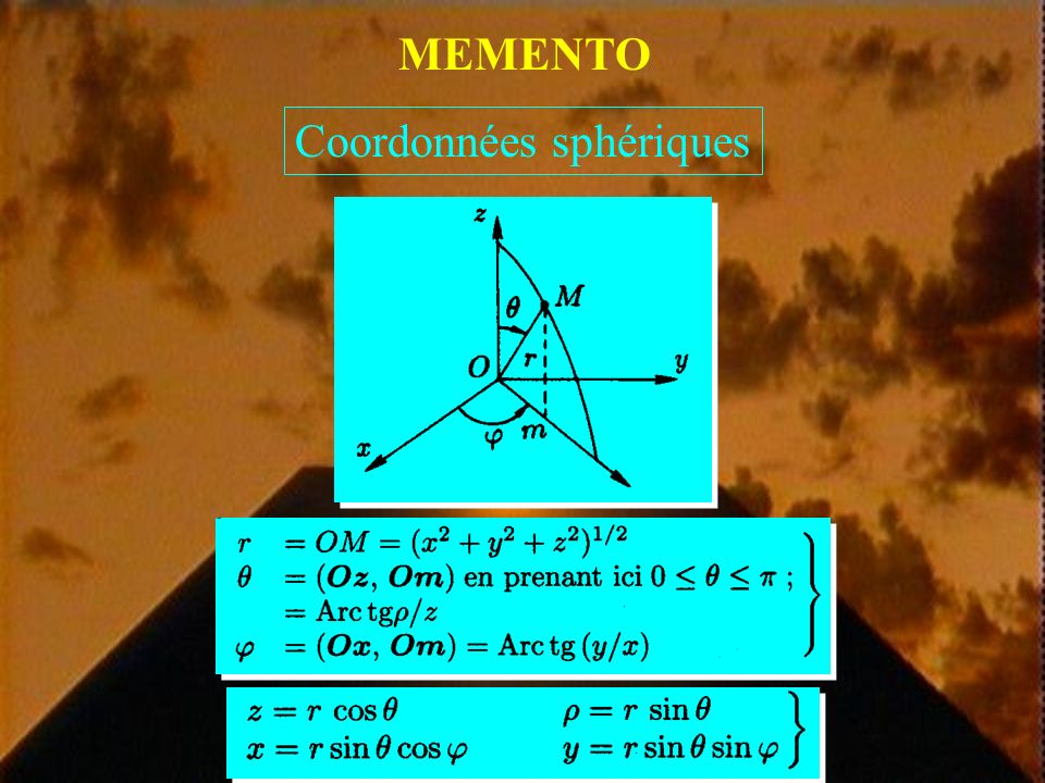MEMENTO Coordonnées cylindriques