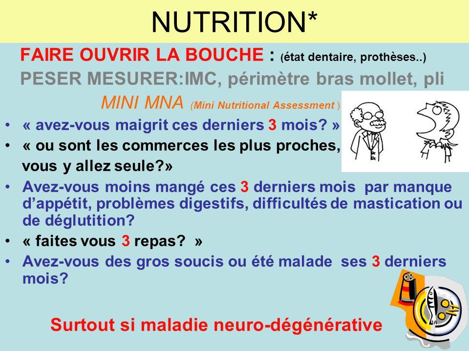 NUTRITION* FAIRE OUVRIR LA BOUCHE : ( état dentaire, prothèses..) PESER MESURER:IMC, périmètre bras mollet, pli MINI MNA (Mini Nutritional Assessment