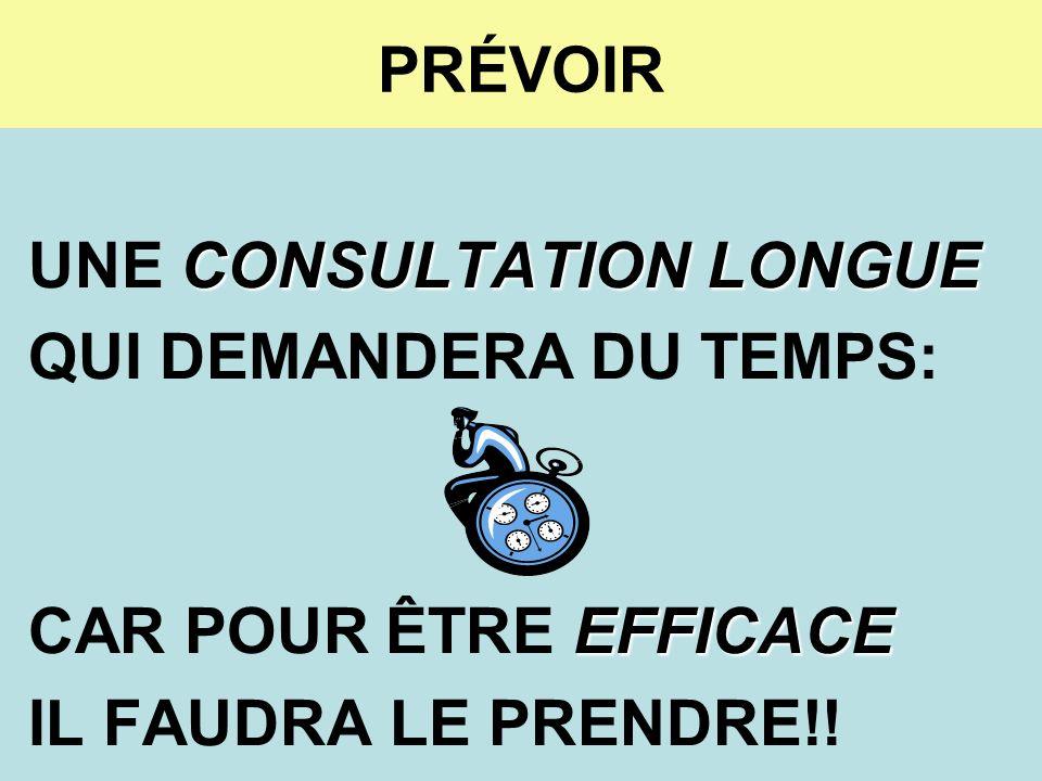 PRÉVOIR CONSULTATION LONGUE UNE CONSULTATION LONGUE QUI DEMANDERA DU TEMPS: EFFICACE CAR POUR ÊTRE EFFICACE IL FAUDRA LE PRENDRE!!