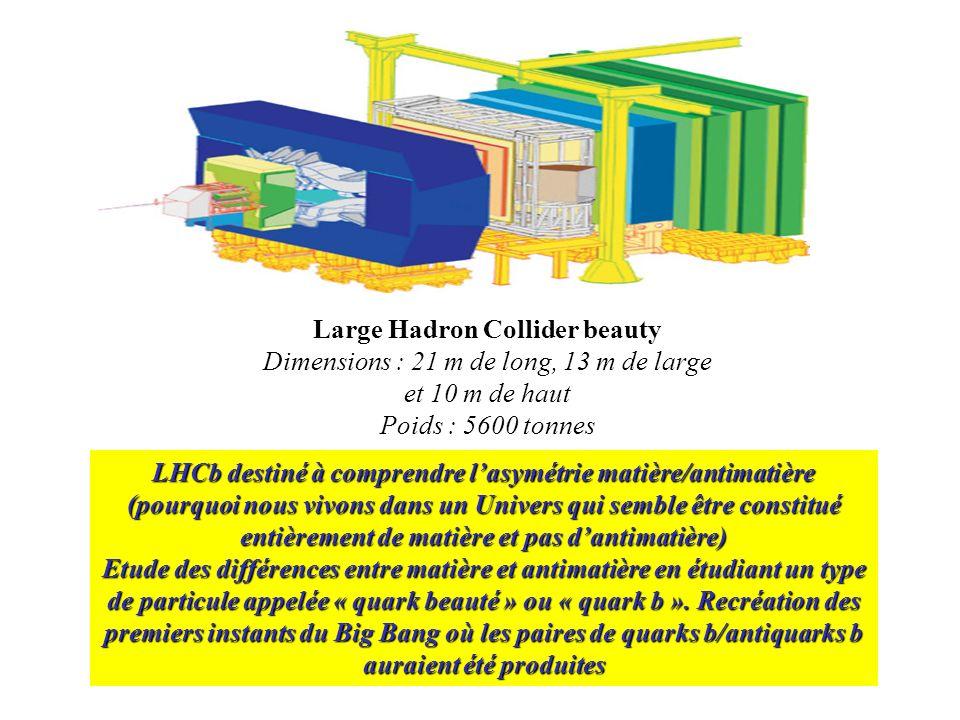 Large Hadron Collider beauty Dimensions : 21 m de long, 13 m de large et 10 m de haut Poids : 5600 tonnes LHCb destiné à comprendre lasymétrie matière