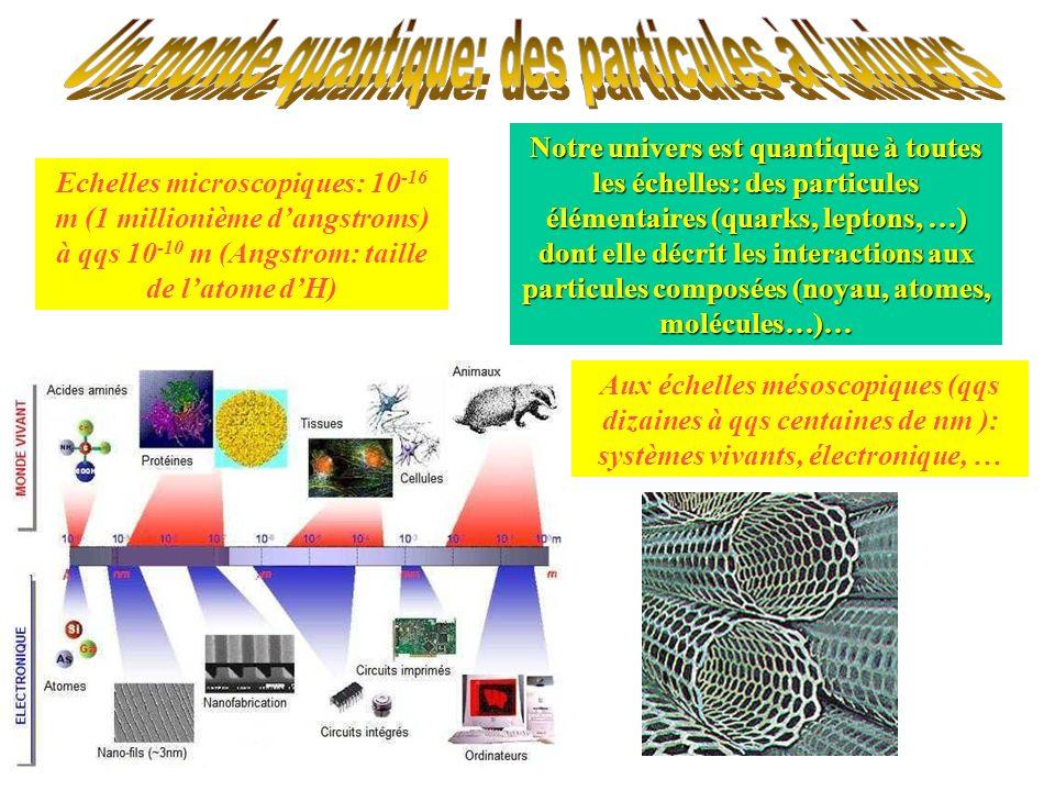 Notre univers est quantique à toutes les échelles: des particules élémentaires (quarks, leptons, …) dont elle décrit les interactions aux particules c