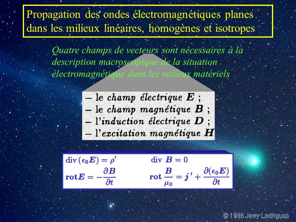 Propagation des ondes électromagnétiques planes dans les milieux linéaires, homogènes et isotropes Quatre champs de vecteurs sont nécessaires à la description macroscopique de la situation électromagnétique dans les milieux matériels