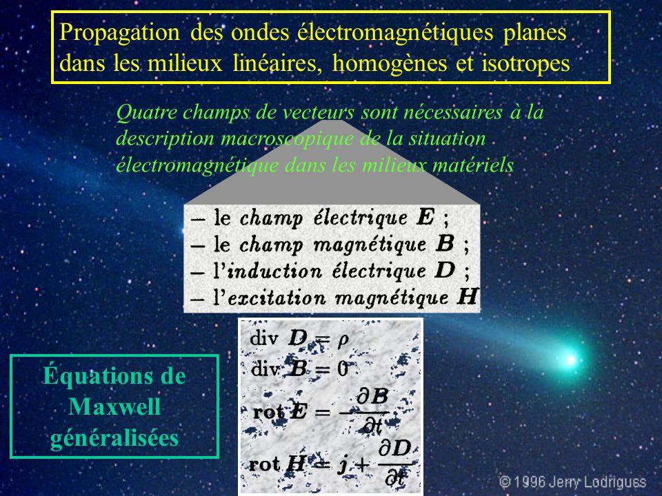 Quatre champs de vecteurs sont nécessaires à la description macroscopique de la situation électromagnétique dans les milieux matériels Équations de Maxwell généralisées