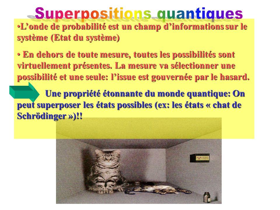 Londe de probabilité est un champ dinformations sur le système (Etat du système)Londe de probabilité est un champ dinformations sur le système (Etat du système) En dehors de toute mesure, toutes les possibilités sont virtuellement présentes.