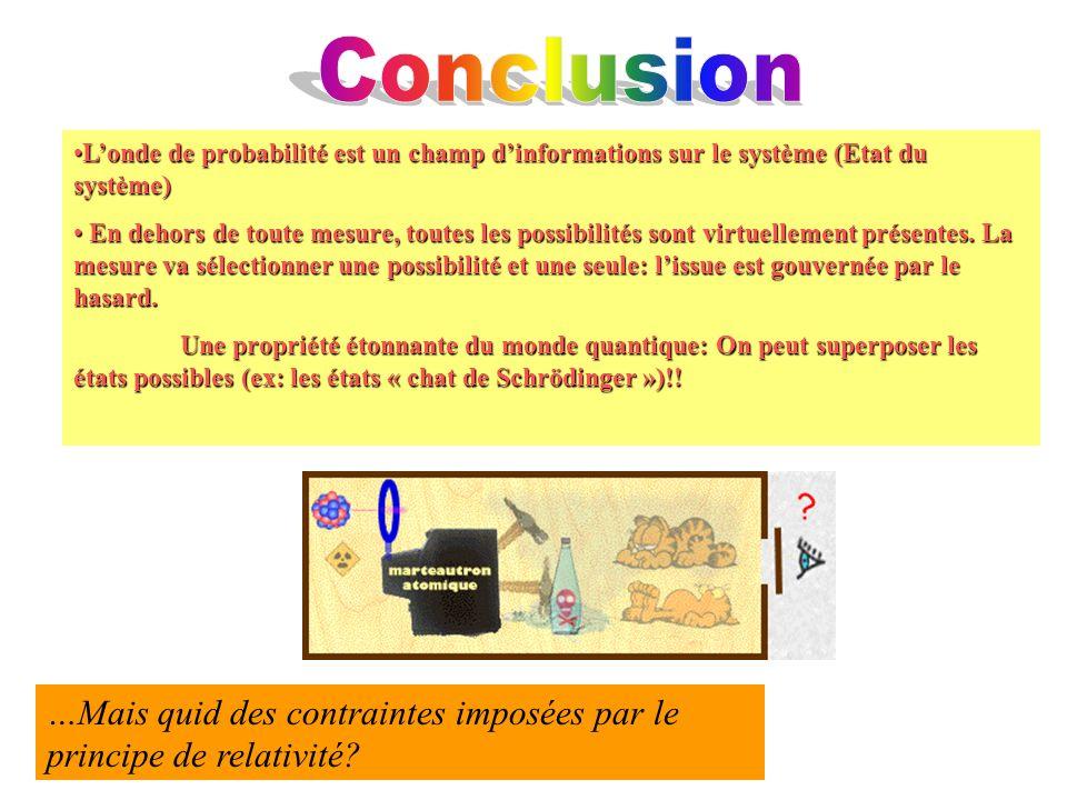 Londe de probabilité est un champ dinformations sur le système (Etat du système)Londe de probabilité est un champ dinformations sur le système (Etat d