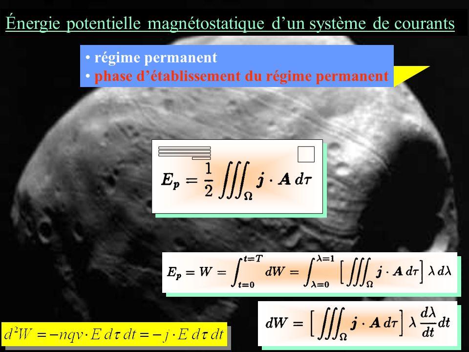 Énergie potentielle magnétostatique dun système de courants régime permanent phase détablissement du régime permanent elle croît de 0 à 1 entre t = 0 et t = T